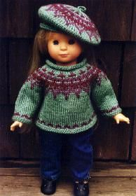 P3556 - Knitting - Icelandic Sweater and Matching Tam. Such awesome colors for AG doll.
