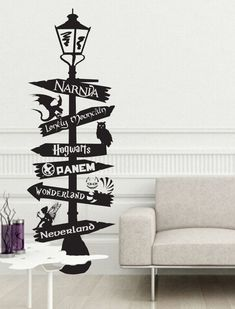 Fandom Sign Post inspired by Harry Potter Hogwarts Narnia Hunger Games Wonderland Neverland 9 3/4 cheshire tinkerbell fairy geek Hobbit