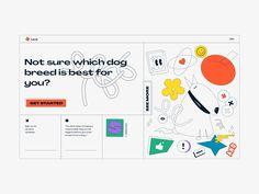 Dog Breed Selector// by Ekaterine Rogava App Design, Design Art, Branding Design, Web Layout, Layout Design, Dog Breed Selector, Marca Personal, Graphic Design Posters, Grafik Design