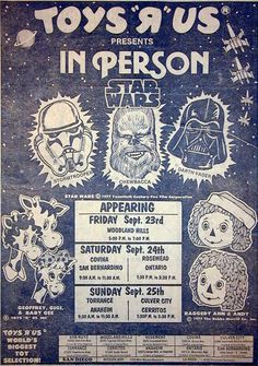 35 Years Ago, Star Wars Character In-Person At Toys R Us