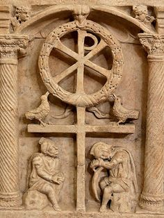 350 A.D The Chi Rho with a wreath symbolizing the victory of the Resurrection, above Roman soldiers, Chi Rho, Early Christian, Christian Art, Christian Prayers, Pagan Gods, Jesus Resurrection, Christian Symbols, Roman Art, Ancient Symbols