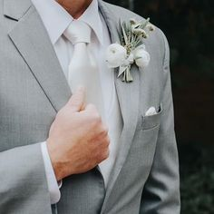 Groomswear | Boutonniere | Groom Attire | Grey Suit for Grooms