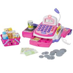Emma or Mia: Pretend Play Electronic Cash Register Toy Realistic Actions & Sounds Pink Pretend Grocery Store, Credit Card Readers, Play Money, Cash Register, Electronic Toys, Christmas Gifts For Kids, Toddler Christmas, Christmas Birthday, Birthday Gifts