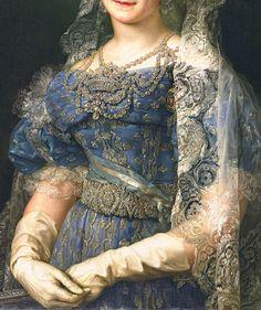 Maria Cristina de Borbon Dos Sicilias , Reina de Espana (Détail) Vicente Lopez y Portana .1830