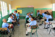 Children sport blue and khaki uniforms in this Dominican Republic school.