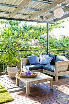 Patio Comfortable Blue Furniture Design Setup for Outdoors Indoor Outdoor Living, Outdoor Rooms, Outdoor Sofa, Outdoor Decor, Blue Furniture, Outdoor Furniture Sets, Furniture Design, House Rules, House Goals