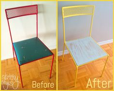 Bistro Chair Facelift by sketchystyles.com.  #DIY #DumpsterDiving #Chair