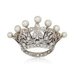 C. 1960 Vintage Cultured Pearl and .95 ct. t.w. Diamond Crown Motif Pin Pendant in 14kt Two-Tone Gold