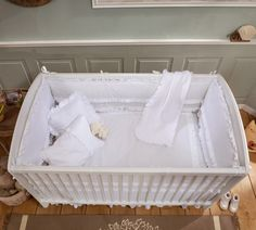 Set lenjerie pentru patut bebe 9 piese Baby White, 70 x 130 cm Bassinet, Storage Chest, Interior Design, Furniture, Design Inspiration, Home Decor, Products, Baby Cot Bed, Asylum