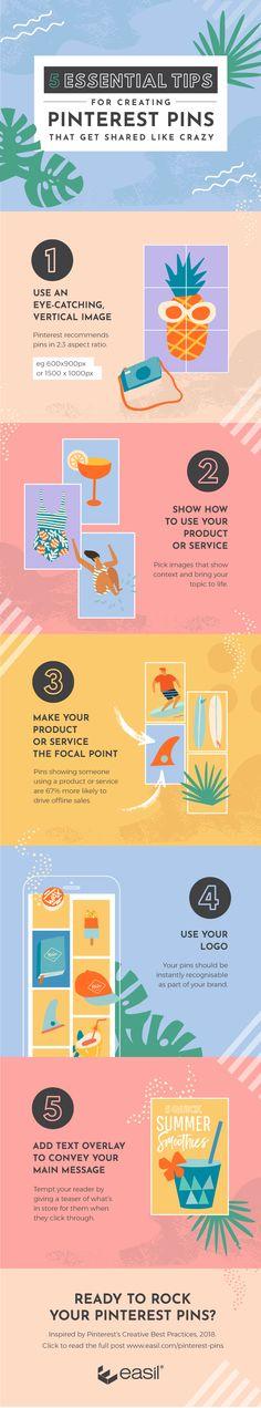 5 Essential Tips for Creating Pinterest Pins that Get Shared Like Crazy #PinterestTips #PinterestMarketing #Infographic Social Media Tips, Social Media Marketing, Marketing Tools, Marketing Strategies, Content Marketing, Pinterest For Business, Pinterest Marketing, Blog Tips, Marketing Digital