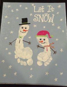 Footprint snowman by each kiddo for my winter bathroom