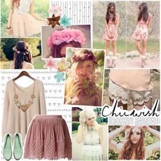 Here Comes The Breath Before We Get A Little Bit Closer by elaine-elizabethxo on Polyvore featuring Betsey Johnson, Clips, Chicwish, vintage, chunky necklaces, bohemian, flower crowns, loafers, skater skirts and chunky sweaters