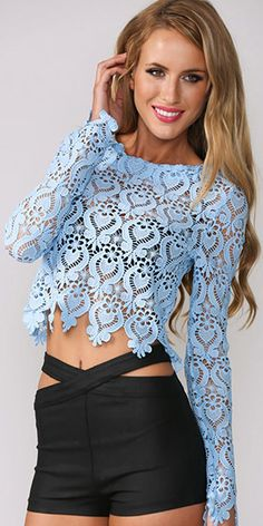 Sexy Hollow Out Lace Long Sleeve Round Neck T-shirt