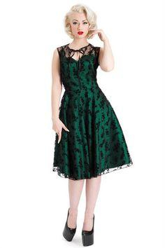 Voodoo Vixen - Emerald Lace Flare Dress