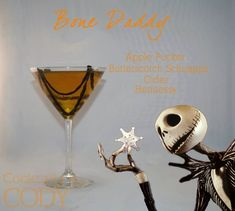 Disney Character Cocktails - Bone Daddy - Jack Skellington (The Nightmare Before Christmas) Disney Cocktails, Halloween Cocktails, Cocktail Disney, Cocktail Vodka, Cocktail Recipes, Disney Themed Drinks, Disney Alcoholic Drinks, Bartender Drinks, Alcoholic Shots