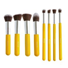 Rabake Makeup Brush Set Cosmetics Pro Foundation Brush Liquid Kabuki Eyshadow Blending Pencil Eyeliner Face Powder Brush Kit Yellow Silver 8pcs * Want additional info? Click on the image.