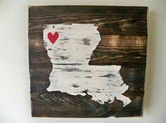 Love Your State - Map Wood Wall hanging on Ebony Stain (10x10) on Etsy, $30.00