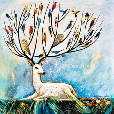 Tree of life-joy of tree-deer tree-gift-Fantasy wall art-Oil painting print-birds in tree-colorful birds-deer-fawn-nature Painting Prints, Fine Art Prints, Paintings, Art Store, Colorful Birds, Fine Art Gallery, Portrait Art, Art Oil, Fine Art Paper