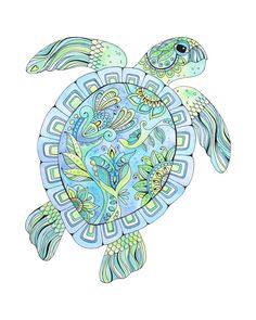 Excited to share this item from my shop: Green Sea Turtle watercolor and ink painting, giclee print of original painting done in bright blues and greens, Hawaiian Honu, turtle art Sea Turtle Painting, Sea Turtle Art, Sea Turtle Decor, Ink Painting, Watercolor Paintings, Original Paintings, Watercolors, Beach Art, Watercolor And Ink