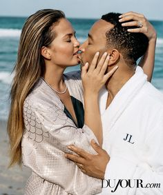 From intimacy to Instagram, celeb couple John Legend and Chrissy Teigen sat down with DuJour to chat about what their lives are like. Read the full interview.  ON TEIGEN: Pisces Kimono robe, $3,844, La Perla. Straight-line necklace in platinum with diamonds, price upon request, Harry Winston.  On skin: Pure Color All-Over Illuminator, $30, Estée Lauder. On lips: Addict Tie-Dye lipstick in Coral Trip, $33, Dior.   ON LEGEND: Robe, $79, Land's End