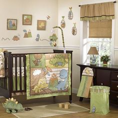 Cocalo Baby Dinomite 8-Pc. Crib Bedding Set-Give your nursery all the creature comforts with this CoCaLo Baby Dinomite crib bedding set decorated with dinosaur buddies. In green/brown/multi. Price $206.99 MORE INFO: http://www.everythingkids.co/childrens-furniture/