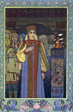 Russian folk costume in the beautiful illustrations of Ivan Bilibin Feather of Finist the Falcon Arte Fairy Tail, Eslava, Medieval, Russian Folk Art, Russian Style, Old Art, Art Dolls, Book Illustration, Fantasy Art