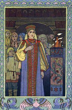 """Ivan Bilibine, illustration pour les """"Contes Russes"""", histoire de Vassilissa la très Belle."""