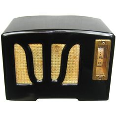 For Sale on - This is an original black with white Knobs RCA 'W' Grill Catalin Bakelite Radio. The radio is original and in excellent condition, No Cracks,