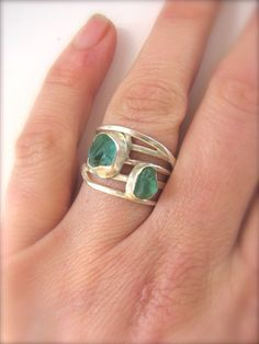 Sea Glass Ring, Rare Aqua Sea Glass Sterling Silver Wrap Ring, Bezel set sea glass, Hammered Sterling Silver Ring