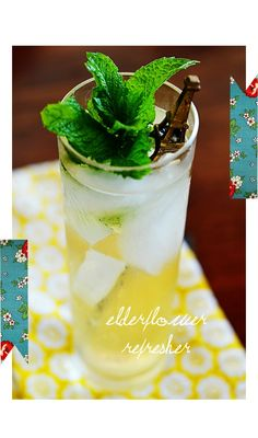 elderflower refresher: 3 oz white wine, 1 oz Elderflower Liqueur, 1 oz limoncello, soda water to fill glass, ice,  mint for garnish. Add all ingredients to glass of ice and add mint.