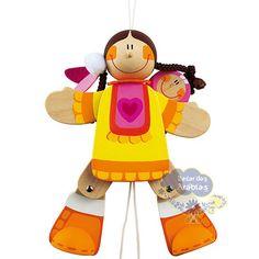 Menina Indiana, Menina Indiana Sevi, Brinquedos Sevi, Brinquedos de madeira, brinquedos educativos, móbile de madeira