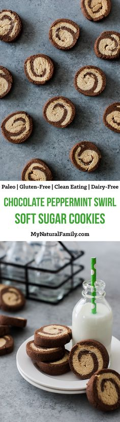 Chocolate Peppermint Swirl Soft Sugar Cookies Recipe {Paleo, Clean Eating, Gluten Free, Dairy Free}