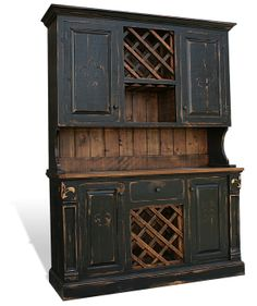 Black Hutches for Sale | Rustic Cypress Hutch with Fleur De Lis with Optional Wine Racks | All ...