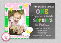 Easter Bunny Birthday Invitation  1st Easter by TheTrendyButterfly