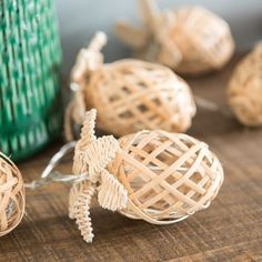 10 LED bamboo and rattan pineapple fairy lights ANANAS | Maisons du Monde