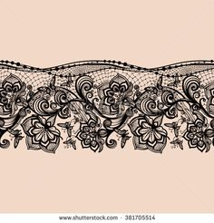 Abstract seamless lace pattern with flowers and butterflies. Infinitely wallpaper, decoration for your design, lingerie and jewelry. Your invitation cards, wallpaper - stock vector Thigh Garter Tattoo, Lace Garter Tattoos, Ribbon Tattoos, Feather Tattoos, Band Tattoos, Leg Tattoos, Body Art Tattoos, Sleeve Tattoos, Tattoos For Guys