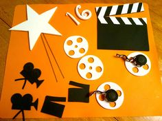 Sweet 16 Hollywood theme cake decorations - before airbrushing, sweet 16 Hollywood theme cake decorations. Film reels, directors take,old video camera. *