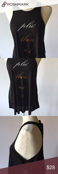 """NWT Betsey Johnson Plié Then Rose Swing Tank Top New. Sleeveless racer front/back swing tank top. Swing hem, drapey soft jersey material. Round neck. Wicking. Graphic print. Black with white and bronze lettering reads Plie Then Rose. Size Small. About 27"""" long, about 18"""" from armpit to armpit. 100% viscose. Not from a smoke free house. M19 Betsey Johnson Performance Tops Tank Tops"""