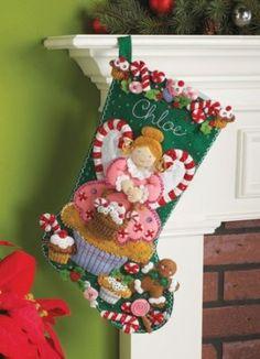 Bucilla 18-Inch Christmas Stocking Felt Applique Kit, Cupcake Angel