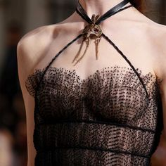 Dotted black tulle #bustier dress top details #Valentino #MirabiliaRomae Fall Winter 2015 #HauteCouture #PFW #FW15