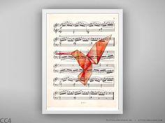 Origami bird colibri original watercolor vintage by Lastivkapapers