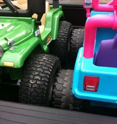 Power Wheels Jeep with rubber tires and wheels from Lowes or Home Depot