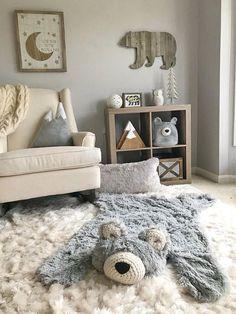 Bear rug nursery, Regular Size Grey Minky – mountain nursery, regular size Bear Rug, Woodland Nursery Rug Woodland Nursery Rug, Bear Rug for Nursery – Nursery Inspo