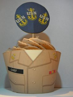 DIY Navy Chief cupcake wrapper and topper by JustMeandMyDesigns, $3.00