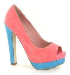 Pink & Blue 2 Tone Colour Blocking Suede Platform Peep Toe Shoes Size 3-8 £25.00