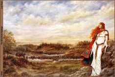 Celtic prayer book The Wind from Hastings, by Luis Royo. A Celtic Woman or Goddess looks on as the Battle forms 1066 AD Celtic Prayer, Celtic Paganism, Celtic Mythology, Dreams Wallpaper, Wallpaper Backgrounds, Celtic Goddess, Brighid Goddess, Luis Royo, Celtic Art