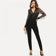 86ca106ae5 Black High-street Sequin Embellished Mesh Skinny Jumpsuit Price  46.00   amp  FREE Shipping