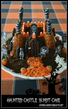 Scare up a Haunted Castle Cake from a castle bundt pan | homeiswheretheboatis.net #Halloween #bundt