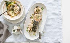 Spinazie-zalmrollade met artisjok, pistache en basilicum