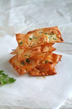 Parmesan wonton crackers #recipe